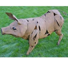 standing metal garden pig ornament