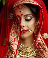 red suit with beautiful bridal makeup 2017