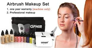 ophir professional 0 3mm airbrush makeup system kit with mini air pressor bag includes foundation blush eyeshadow set