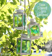 supplies needed to make your own faux stained glass lanterns