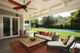 Outdoor patio ceiling fans porch farmhouse with wicker furniture
