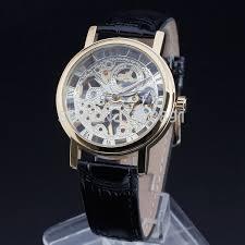 online buy whole best watches for thin wrists from best thin case men leather strap luxury skeleton winner brand fashion hand wind mechanical wrist watch best