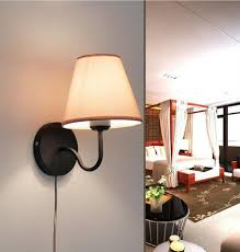 kiven simple warm fabric bedroom living room stair wall lamp one cable mains plug and on off switch bulb included color black kiven lighting