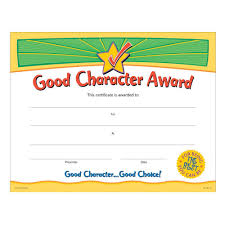 Achievement Certificate Good Character Award Gold Foil Stamped Certificates Positive