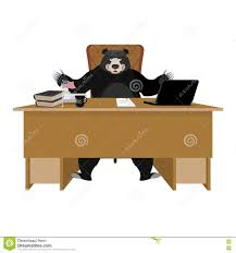 Bear Coffee Table Big Boss With Coffee Sitting At The Desk Royalty Free Stock Photos