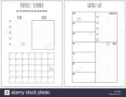 Monthly And Weekly Planners Weekly Planner Monthly Planner Printable Pages Vector