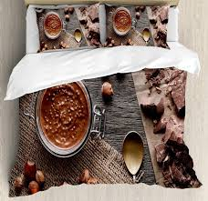 modern duvet cover set natural chocolate cocoa cream image art design wooden surface bedding sets brown bedspread sets queen bedding sets from cansou