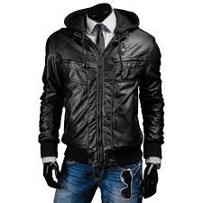 men s slim fit black hooded leather jacket