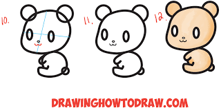 how to draw a cute chibi kawaii cartoon 3 shape bear