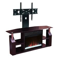 modern electric fireplace and tv stand furniture set with floating tv holder