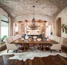 Rustic Dining Room Large Cowhide Area Rug Rustic Wood Floors - Large dining room rugs