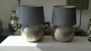 2 large round table lamp lights nickel silver finish with grey shades