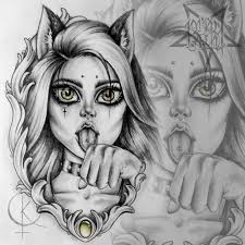 эскиз девушка кошка для тату на ноге эскиз тату мастера каролины