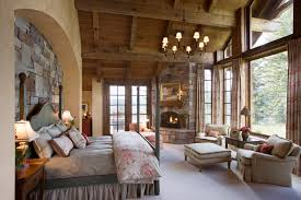 Lodge Bedroom Stone Wall Mountain Lodge Wood Ceiling Master Bedroom Custom