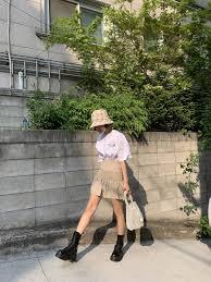 Shirred Panel A Line Skirt