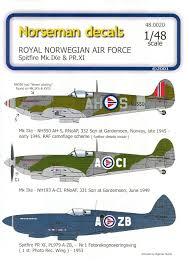 spitfire decals. 1/48 norwegian spitfire decals from norseman by steve bamford