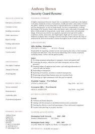 Security Resume Template Security Guard Cv Sample