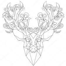 čelní Pohled Zvířecí Hlavy Trojúhelníková Ikona Jelen Stock Vektor