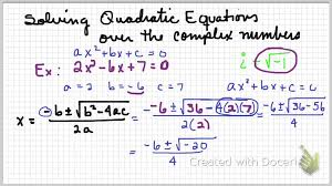 solving quadratics over complex numbers