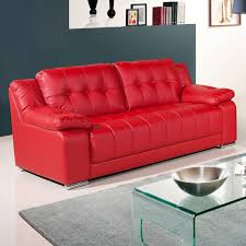 newham vibrant red leather sofa collection with all in one bench style seating