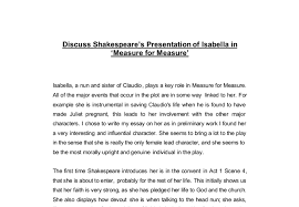 discuss shakespeare s presentation of isabella in measure for  document image preview