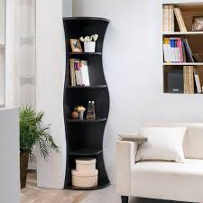Furniture of America Collins Contemporary Curvy Walnut Corner Bookcase -  Free Shipping Today - Overstock.com - 17213111