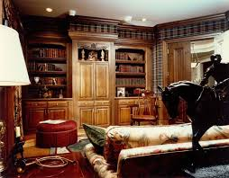 classic office design. Office:Fancy Classic Style Home Office Design Added Round Red Ottoman Plus Built In Wall A