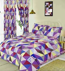double bed duvet cover set geometric patchwork berry polka dot pink yellow blue