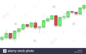 Market Chart With Color Bars On White Background Red And