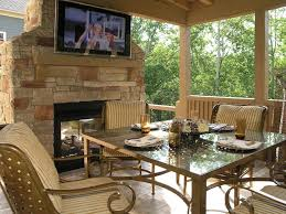 covered patio deck designs. Exterior:Covered Outdoor Patio Seck Area Combine Exposed Stone Fireplace Also Stripes Chairs Glass Covered Deck Designs