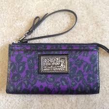 COACH POPPY Ocelot Wristlet in Black   Purple