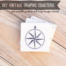 how to make vintage graphic coasters image transfer tutorial and free vintage graphcis from savedbyloves