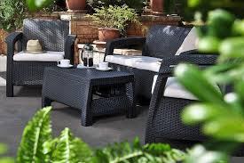 keter corfu rattan sofa outdoor garden furniture graphite with cream cushions