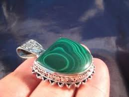 image is loading 925 silver malachite green stone crystal pendant necklace