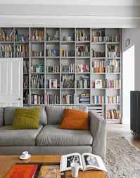 This Grey Living Room With Floor To Ceiling Bookcases Uses A Very Impressive Bookshelves Living Room