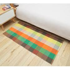 100 cotton woven area rugs plaid check striped carpet mat durable machine washable rug for laundry living room bedroom kitchen carpet s and