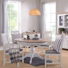 seychelles light grey oak 4 6 person round extending dining table 4 slat