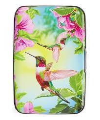 Fig Design Group Purple Green Flowers Hummingbirds Rfid Secure Credit Card Case