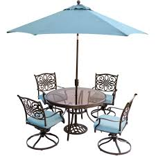Patio furniture dining sets with umbrella Piece Hanover Traditions 5piece Outdoor Dining Set With Round Glass Table Swivel Chairs Umbrella And Base With Ocean Blue Cushions Pinterest Hanover Traditions 5piece Outdoor Dining Set With Round Glass Table