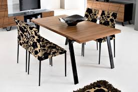 dining table with wheels: furniture rectangle brown block dining table with black base added by patterned chair on