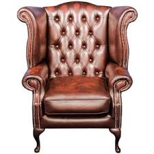 English Classics Furniture Queen Anne Style Red Leather Wing