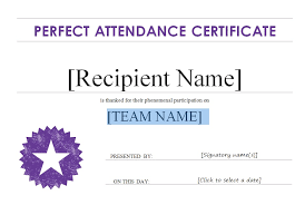 Free Perfect Attendance Certificate Award Template With Purple Color