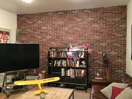 white grout faux brick wall panel
