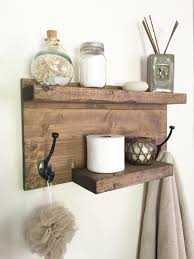 Rustic bathroom towel rack, rustic shelf, farmhouse decor, bathroom shelf  with hooks,