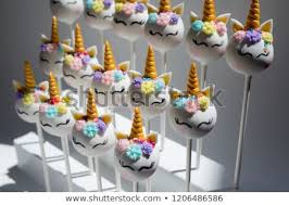 White Unicorn Cake Pops Gold Horn Stock Photo Edit Now 1206486586