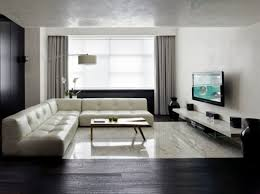 ... Indoor:Interior Design Modern And Minimalist Apartment With Carpet  Under The Table And Long Brown ...