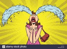 funny woman crying the big tears ic book cartoon pop art retro ilration