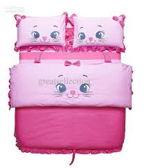 kid twin sheet set new embroidered cute cat pink girls children bedding sets twin size