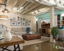 basement color ideas. Example Of A Mid-sized Transitional Look-out Concrete Floor And Brown Basement Color Ideas