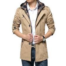 khaki coat mens high quality winter coat for men detachable hat black khaki wine red zara khaki coat mens